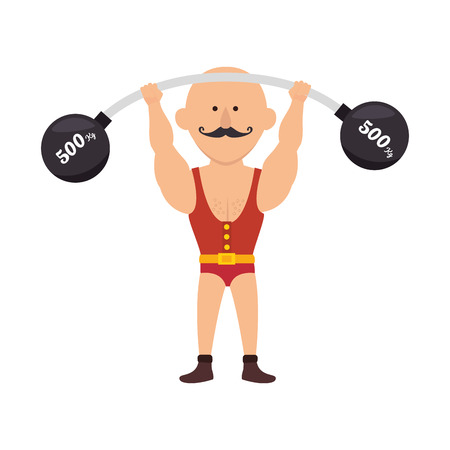 acrobat: strong man circus cartoon acrobat show mustache vector illustration