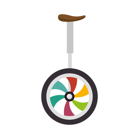 unicyle colorful wheel pedal fun transport circus gymnastics vector illustration