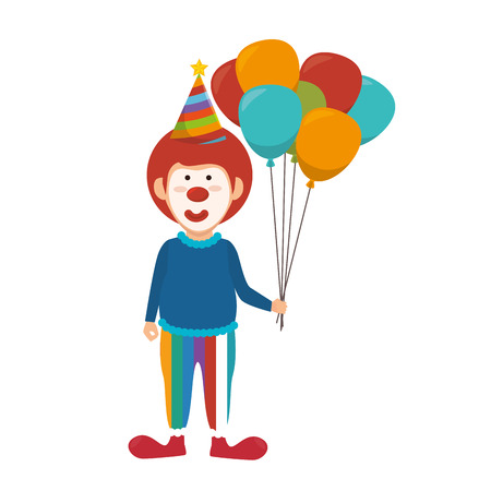cirque: clown smiling cartoon holding color balloons circus funny character  vector illustration