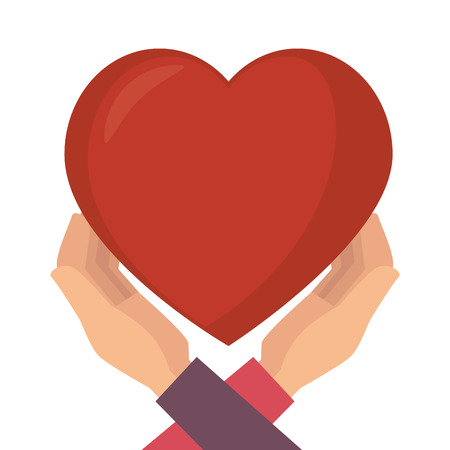 romance: heart love hands passion romance vector illustration Illustration