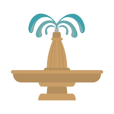 features: fountain water park exterior decoration architecture symbol vector illustration