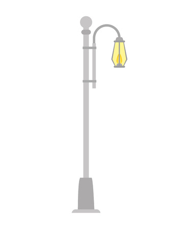 street light lamp urban city element post vector illustration