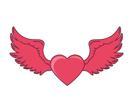 heart with wings: pink heart wings love romance passion decoration vector illustration