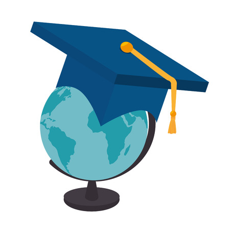geography: planet earth global education globe countries continent ocean geography graduation cat vector illustration