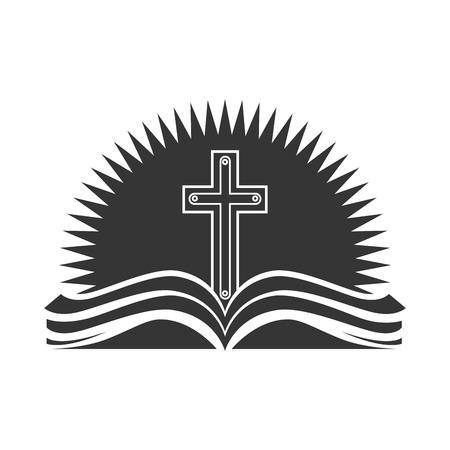 Bijbel godsdienst kruis open boek christendom katholicisme silhouet vector illustratie