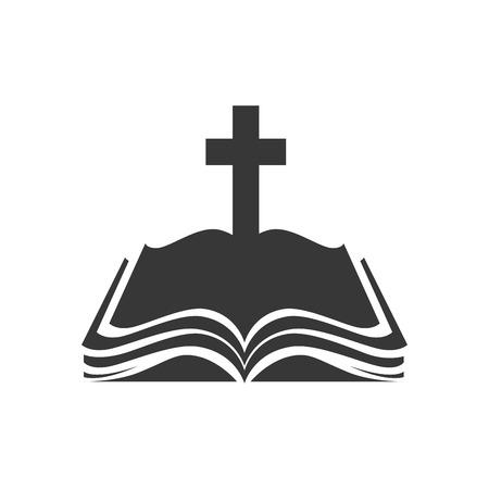 vangelo aperto: Sacra Bibbia religione croce libro aperto illustrazione cristianesimo cattolicesimo silhouette Vettoriali