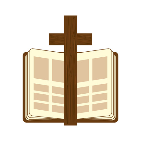 catholicism: holy bible religion wooden cross open book christianity catholicism silhouette vector illustration Illustration