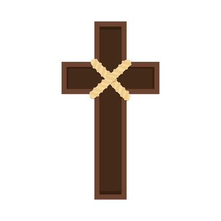 catholicism: wooden cross holy religion catholicism chritianity object vector illustration