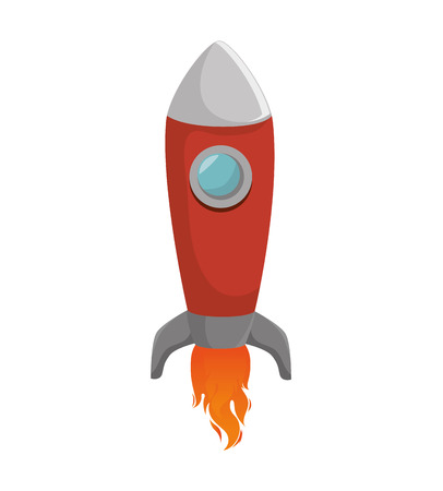 spacecraft: rocket spacecraft transport vehicle universe space flame vector illustration
