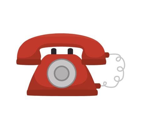 red telephone vintage phone retro communication call vector illustration Illustration