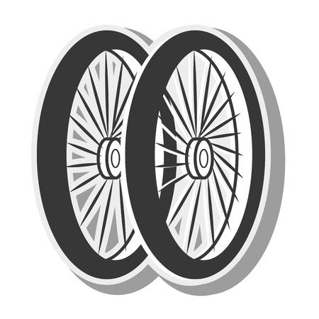 bicycle wheel tire spoked frame bike equipment vehicle silhouette vector illustration Illustration