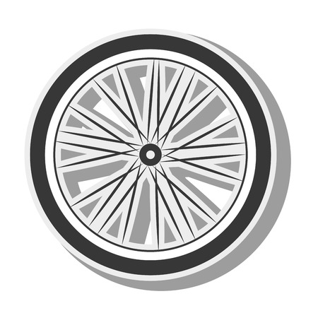 spoked: bicycle wheel tire spoked frame bike equipment vehicle silhouette vector illustration Illustration