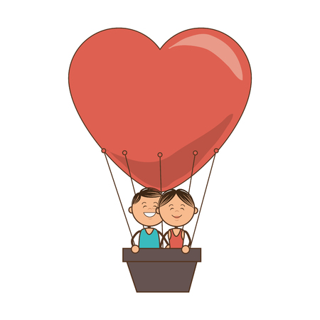 hot couple: hot heart air balloon couple love romance man and woman romantic vector illustration