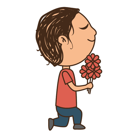 romantic man: romantic man with bouquet flowers cartoon  vector illustration