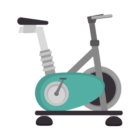 spinning bike gym equipment training fitness static exercise vector illustration isolated Ilustração