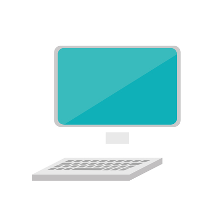 pc monitor: monitor pc computer screen device technology keyboard  vector illustration