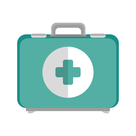 emergency kit: health box medical equipment emergency kit case vector illustration Illustration