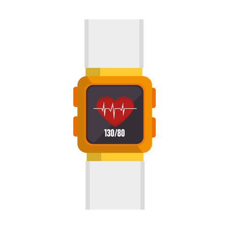 cardio fitness: smart watch monitoring cardio fitness lifestyle  health gadget technology vector illustration