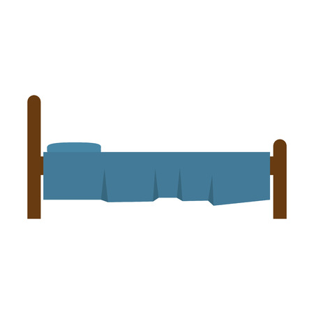 comfortable: bed bedroom comfortable object home interior furniture vector illustration
