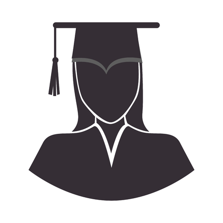cap and gown: graduation woman wearing gown and cap academic celebration vector illustration