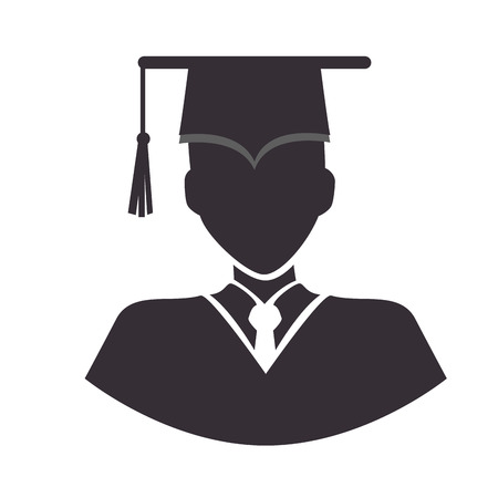 cap and gown: graduation man wearing gown and cap academic celebration vector illustration