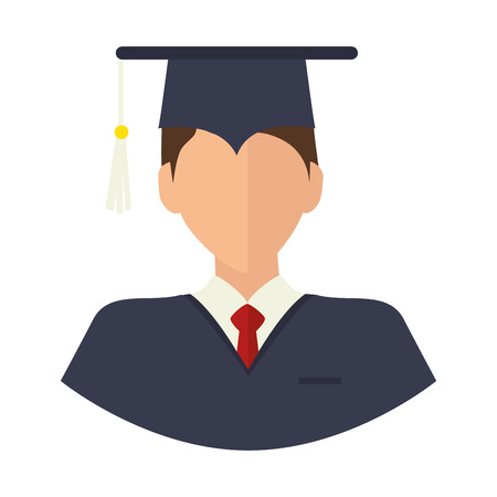 bachelor's: graduation man wearing gown and cap academic celebration vector illustration