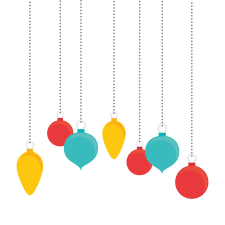 balls hanging ornament christmas season decoration colorful vector illustration