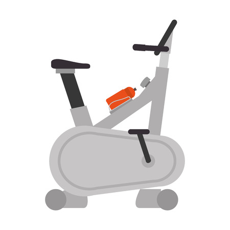 static bike: spinning static bike gym equipment machines fitness lifestyle vector illustration