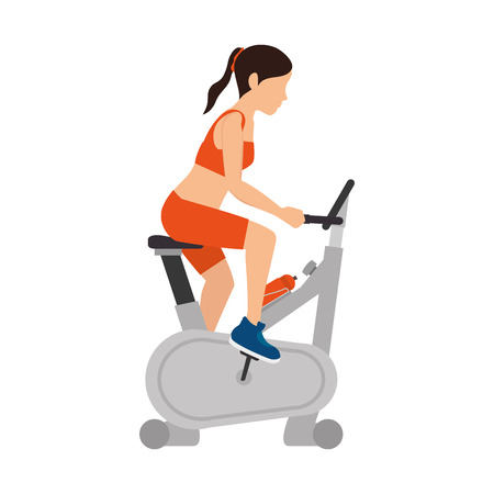 static bike: girl spinning training static bike  gym equipment fitness lifestyle vector illustration