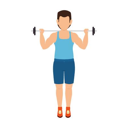 man training lifting weights fitness lifestyle vector illustration Illustration