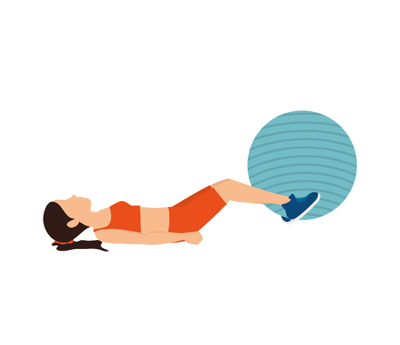 ball stretching: girl training ball fitness stretching lifestyle stretching vector illustration Illustration