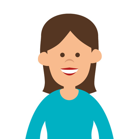head shoulders: avatar woman cartoon lady smiling human person vector illustration