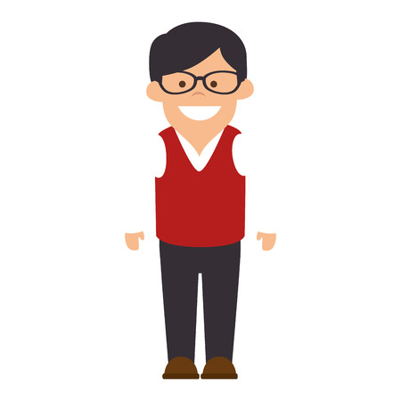 avatar man wearing casual clothes and glasses front view vector illustration