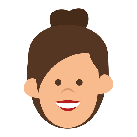 the human face: avatar woman cartoon lady smiling human face person vector illustration