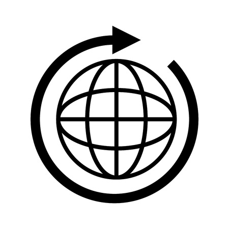 global icon globe international connection network worldwide map corporation vector illustration