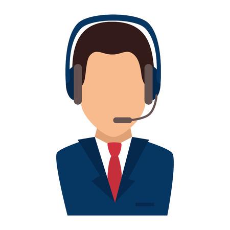 man headset: headset  assistant man support communication service vector illustration Illustration