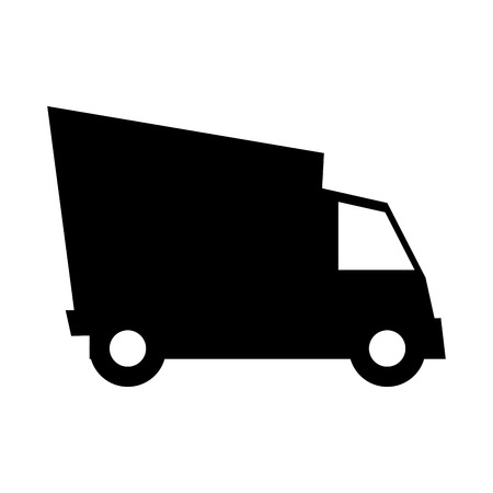 deliver: cargo truck shipping vehicle transport deliver service silhouette vector illustration