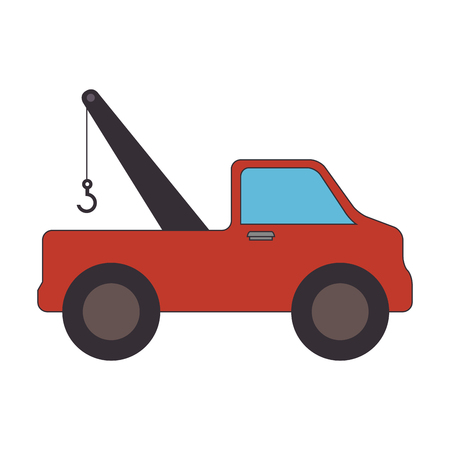 towing truck  service vehicle carrier transport equipment vector illustration