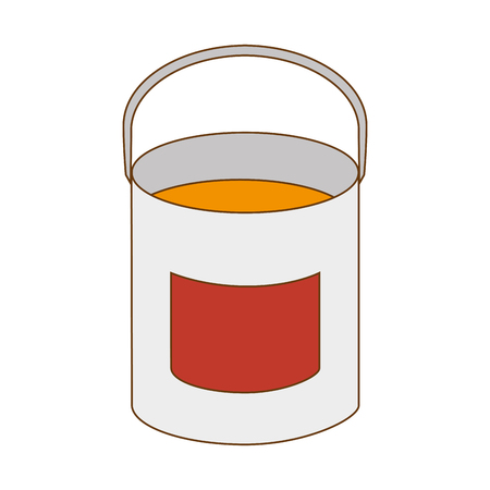 paint container: paint bucket  container repair and fix construction tools equipment vector illustration Illustration