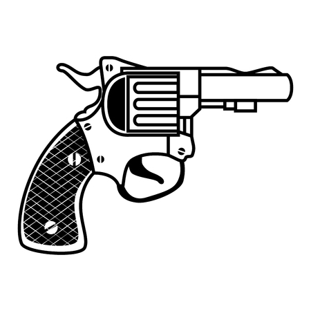 handgun: revolver weapon handgun pistol gun firearm shot vector illustration