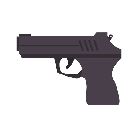 handgun: gun weapon semiautomatic handgun pistol gun firearm shot vector illustration