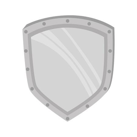 defending: metal shield steel defending protection medieval weapon vector illustration Illustration