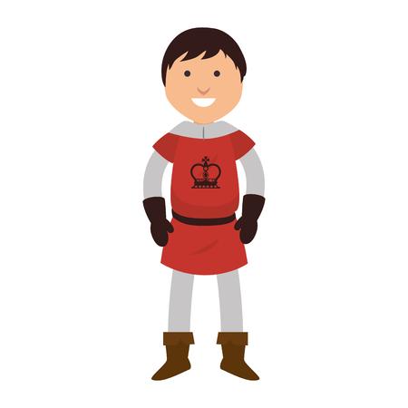 knight man smiling cartoon medieval warrior character vector illustration
