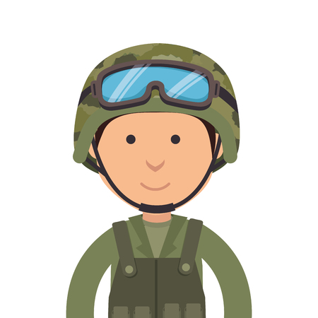 army soldier military cartoon man camouflage uniform vector illustration Illustration