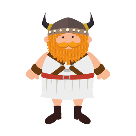 medieval warrior: viking man medieval warrior cartoon helmet costume vector illustration