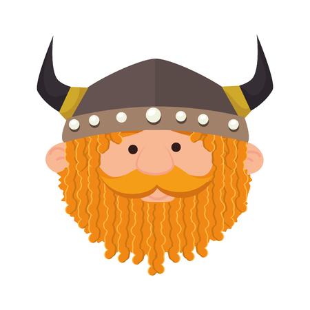 scandinavia: viking man medieval warrior face cartoon helmet costume vector illustration Illustration