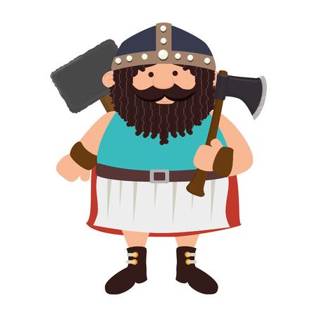 medieval warrior: viking man medieval warrior cartoon helmet axe costume vector illustration