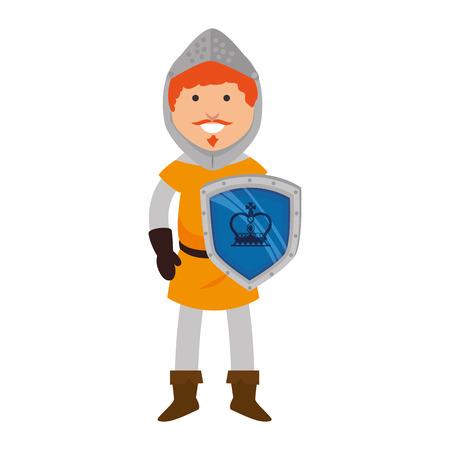 halberd: knight man smiling cartoon medieval warrior shield character vector illustration