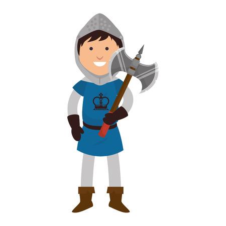 halberd: knight man smiling cartoon medieval warrior battle axe weapon vector illustration