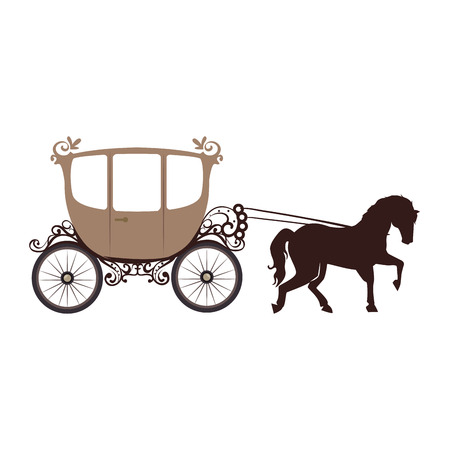 brougham: horse carriage old vehicle vintage transport cartoon vector illustration Illustration